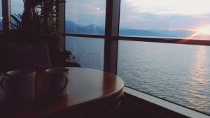 Cunard morning tea on deck sunrise