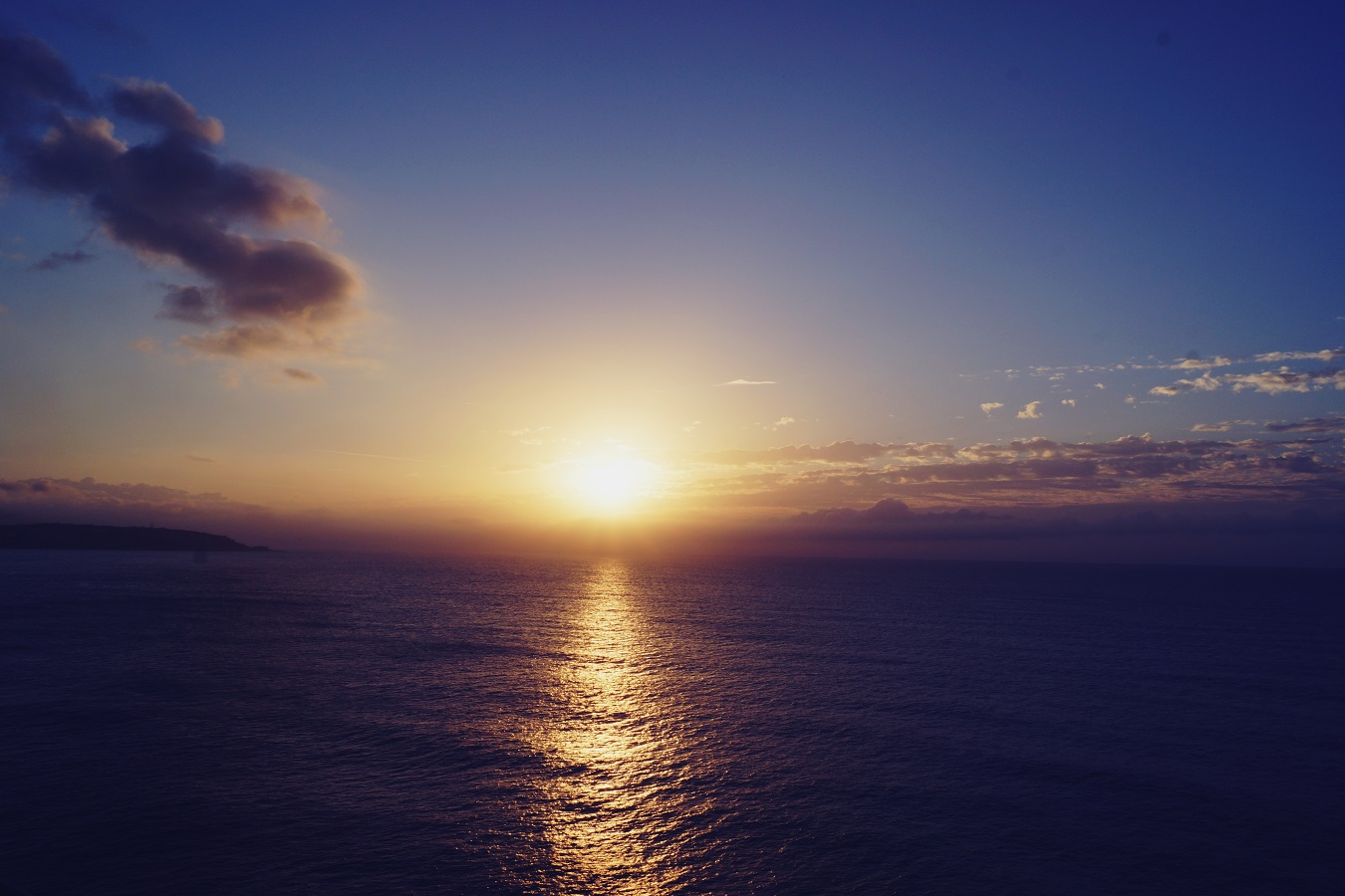 Queen Victoria Cunard sunset on the sea