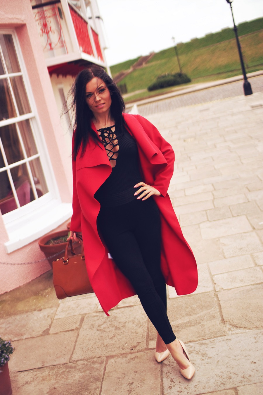 belucce fashion red waterfall coat