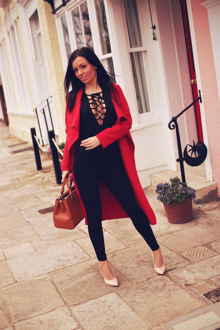 belucce missguided red waterfall coat