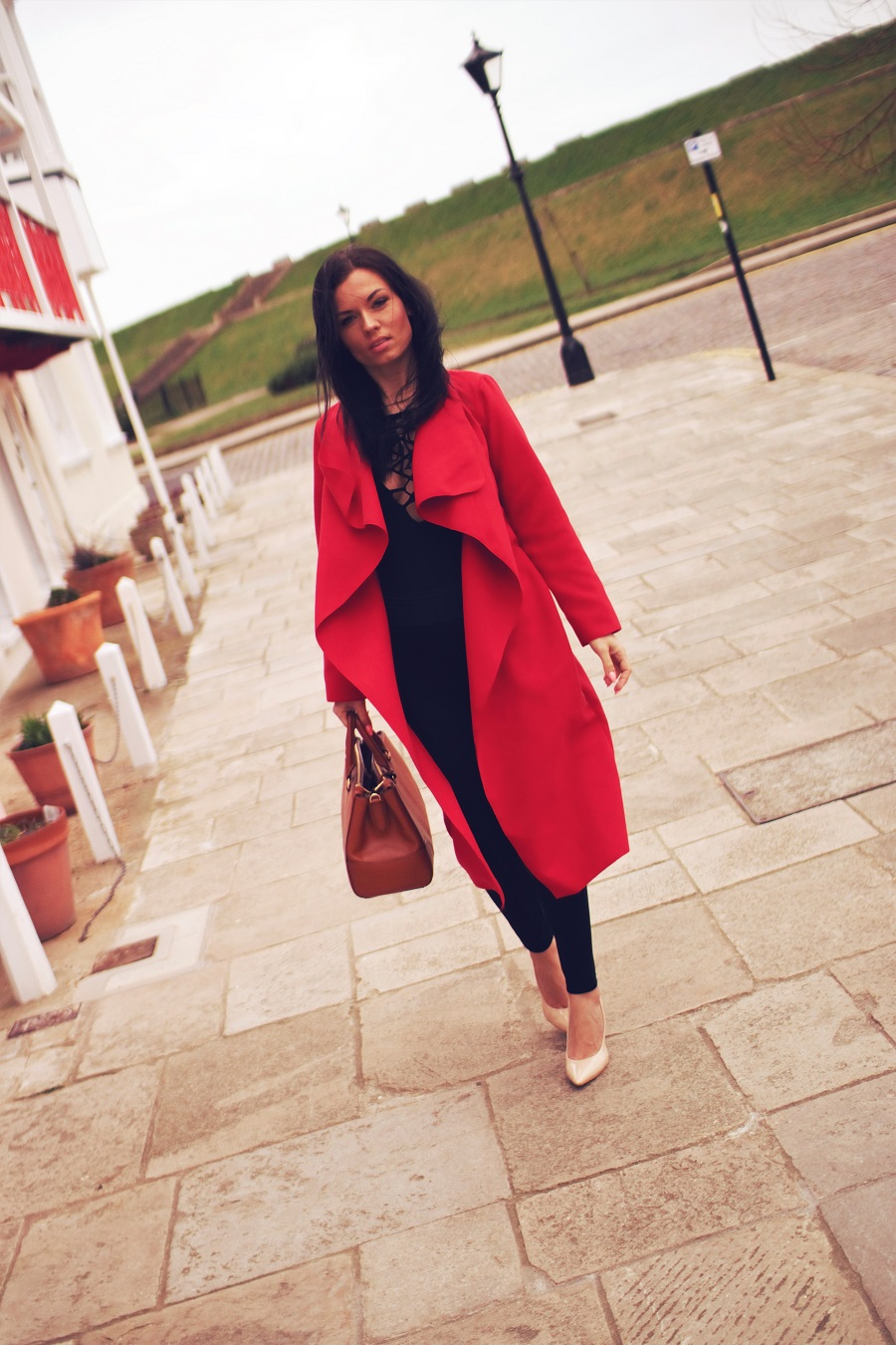 belucce red waterfall coat