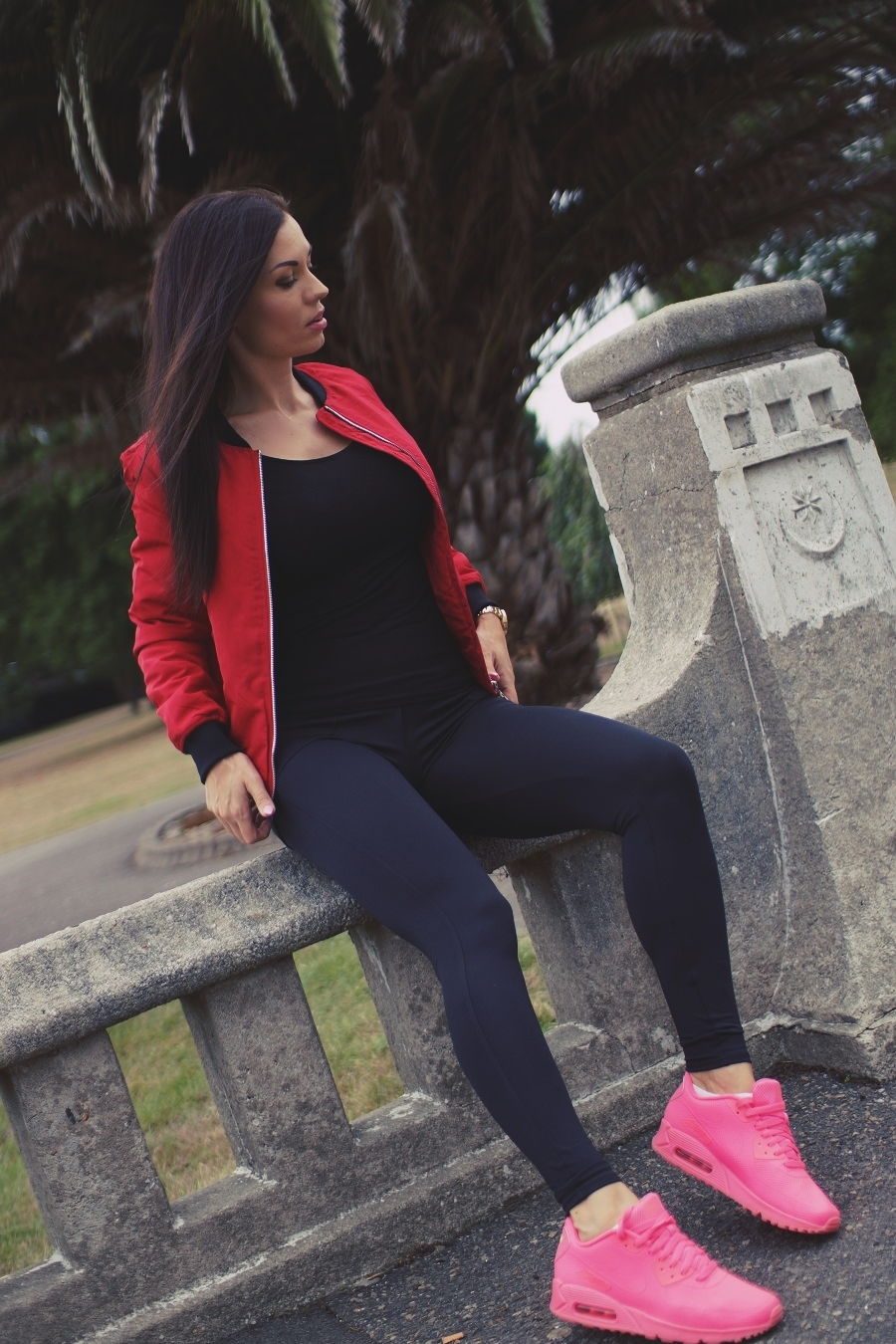 hot pink airmax red jacket