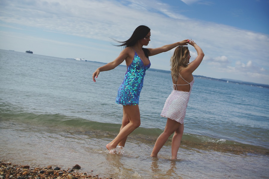mermaid dresses blue pink summer beach
